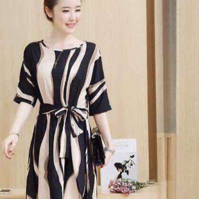Korean Stripe Dress w/ belt