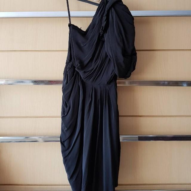 Lanvin-inspired Black One-Shouldered Silk Dress