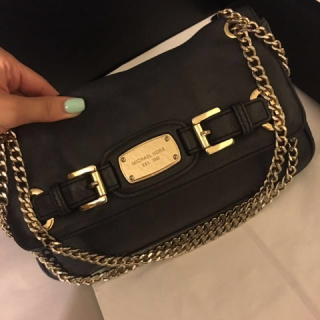 Michael Kors Cross Body: Black with Gold Details
