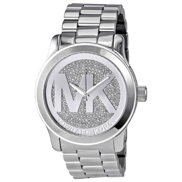 Michael Kors Women's Runway Crystal Pave Silver Tone Watch