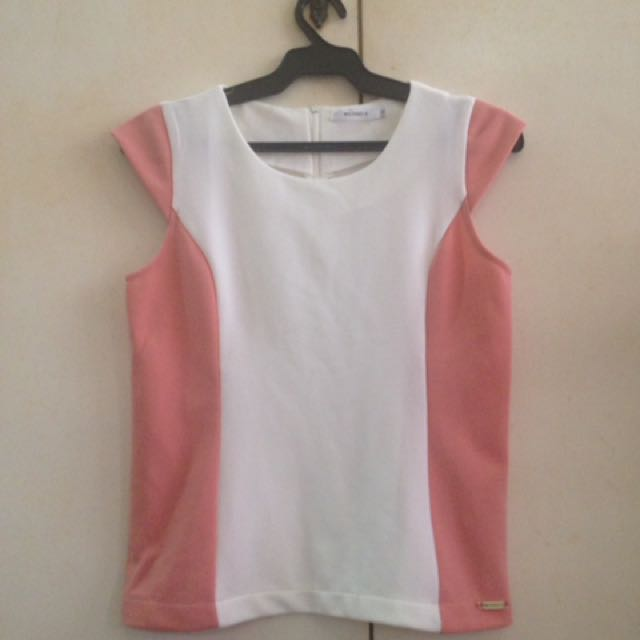 Michaela casual/ formal blouse white with pink