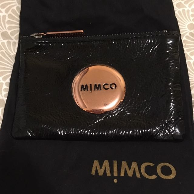 Mimco black/rose gold small leather pouch