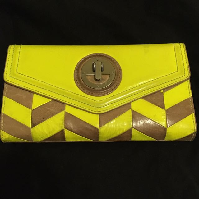 Mimco Fluro/Tan Travel Wallet