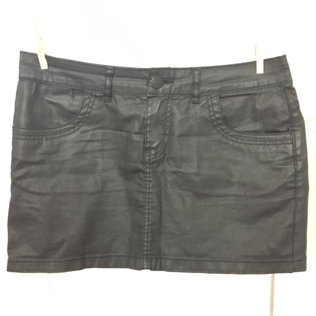 Mini Skirt With Waxed Finish