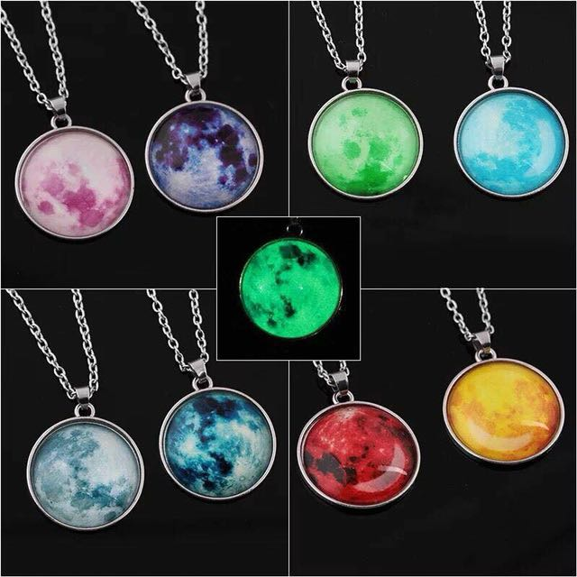 Moon necklace glow in the dark