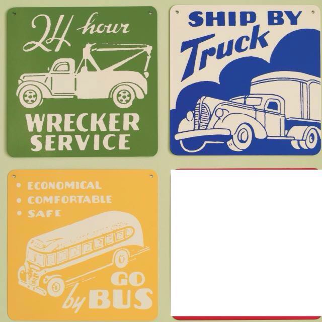 NEW! Great Vintage/Retro Metal Tin Transportation Signs Wall Decor ...