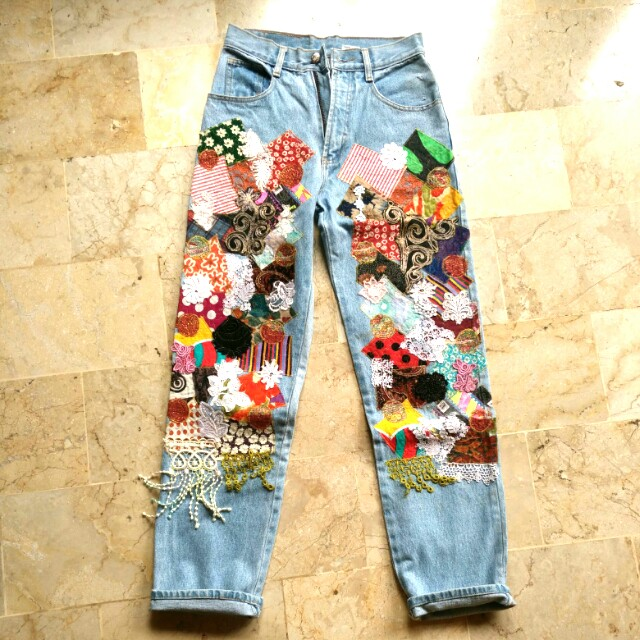 Patched Jeans High waisted vintage