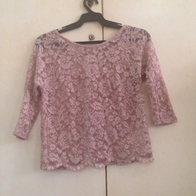 Pink lace floral 3/4 casual/ formal blouse