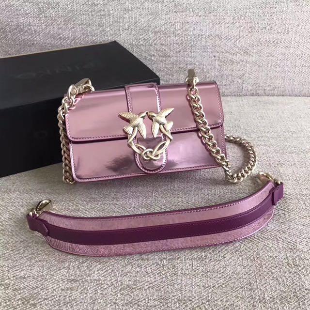 547d7e617fe20 Pinko Mini Love Bag In Mirrored Leather