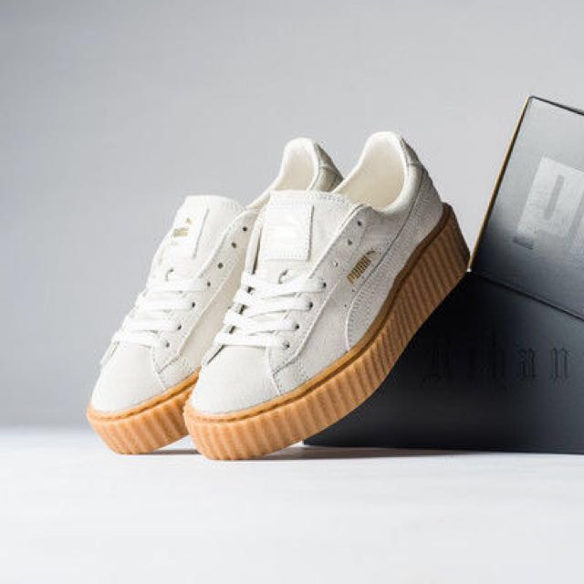Puma X Fenty White Beige Suede Creepers With Gold Detail