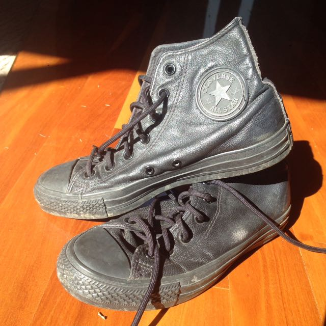 real leather converse black