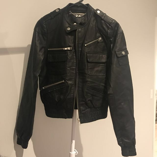 RRP$220 Forever New Leather Jacket