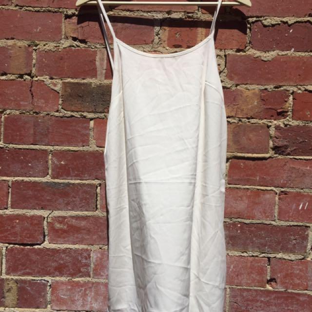 SEMI-SHEER WHITE SATIN SLIP DRESS