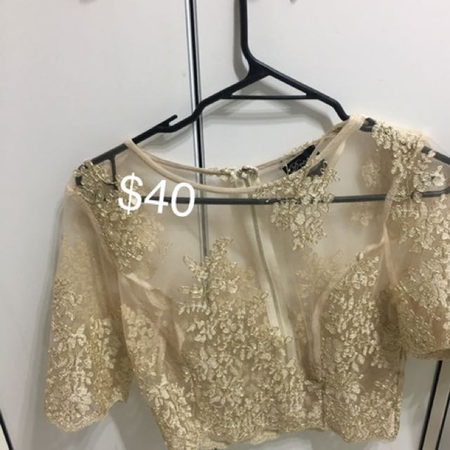 Sheer gold with embroidery