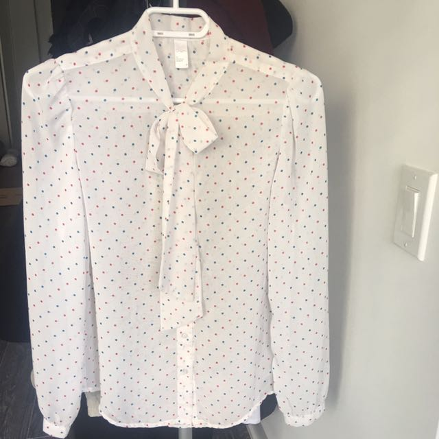 SMALL AMERICAN APPAREL POLKA DOT SECRETARY BLOUSE BUTTON UP TIE