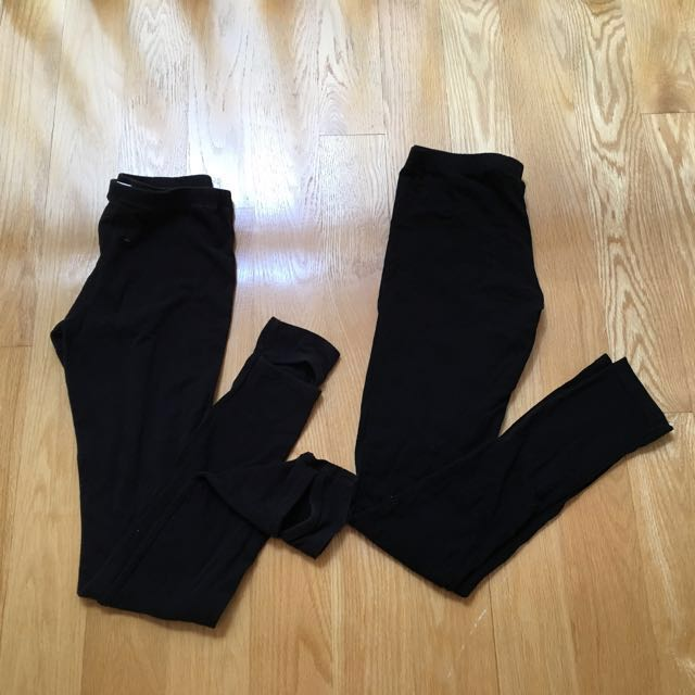 Two pairs of black leggings