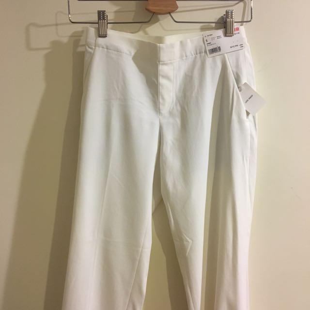 Uniqulo 白色休閒褲 西裝褲