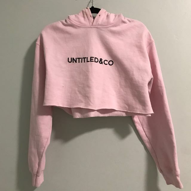 Untitled&Co Pink Crop Hoodie with Black Logo