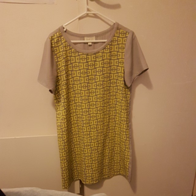 Yellow & grey dress sz 10