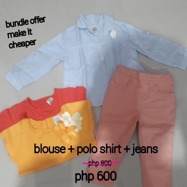 Zara baby blouse & polo short + jeans