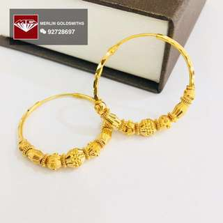 916 Gold Hoop Earring with Designed