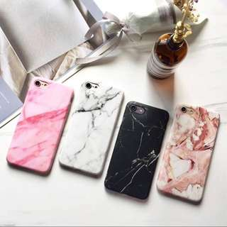 ✨black white basic marble hard rubber cover case // instock
