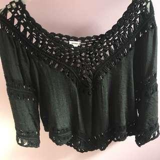 Crochet off the shoulder, long sleeve