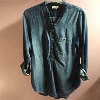 Denim button up, mid thigh length shirt