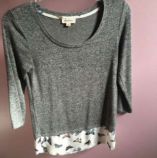 Grey long sleeve with sheer butterfly bottom