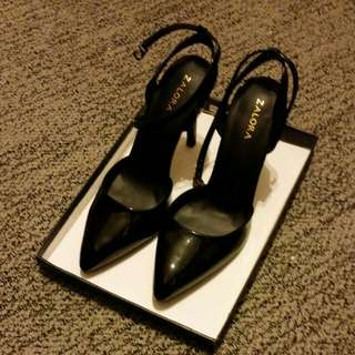 black classic covered toe strappy heels...