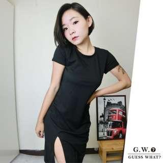GW 【裙襬開衩黑色洋裝】短袖 長款  性感  中長款洋裝 上衣休閒 包臀裙 連身裙 S-M GUESSWHAT