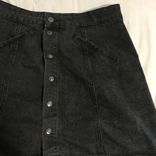 Pull&Bear Black Distressed Wash Denim Skirt