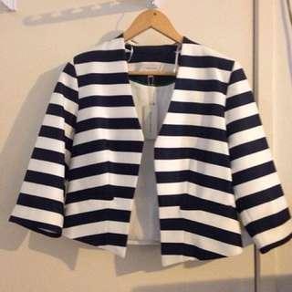 Ladies white and navy strip jacket