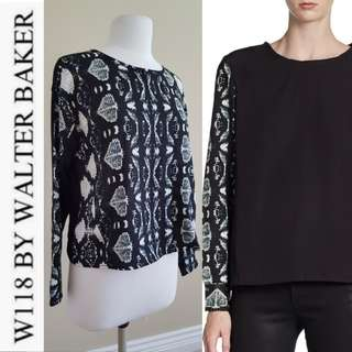 W118 by Walter Baker Ryan Front Print Contrast Blouse, EUC, US XS, $128 USD