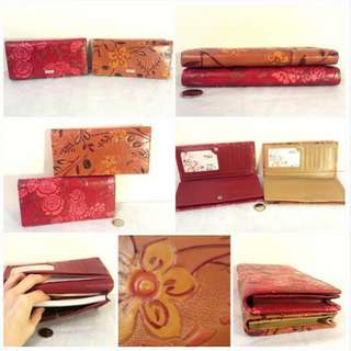 NEW Gorgeous Embossed Floral Cowhide Leather Wallets