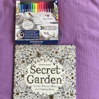 BN Secret Garden Coloring Book & Steadtler 36 Triplus Fineliner Pens
