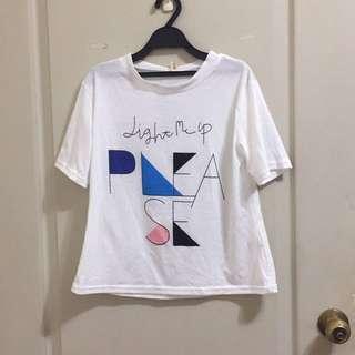 全新含吊牌棉質幾何淑女風寬鬆短袖T恤 女 白