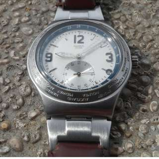 Swatch Watch Irony Stainless Stell Leather Strap
