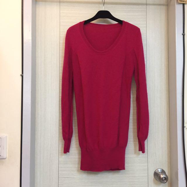 100%cashemire桃紅色長版毛衣