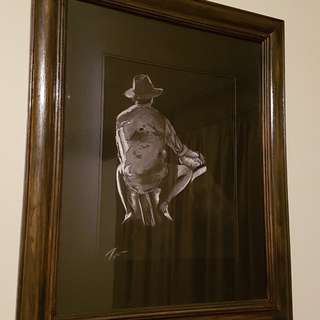 Unique charcoal framed drawing