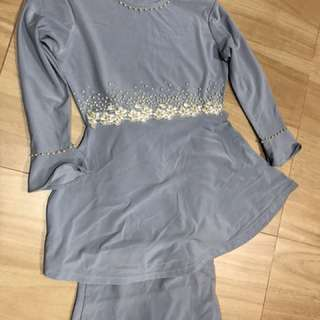 Modern peplum kurung for 5 years old