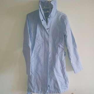 歐洲 棉質 長版外套 天藍色