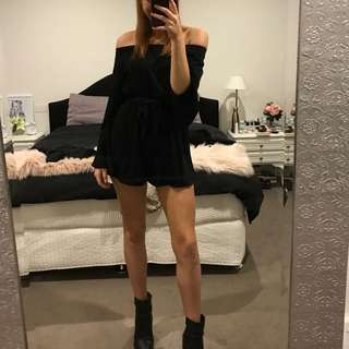 Black off shoulder play suit princess polly