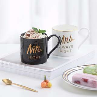 Mr Mrs Gold Lining Monochrome Coffee Mug