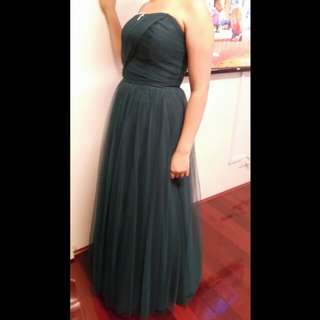 Dark bottle green formal dress