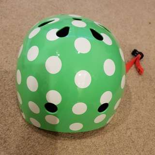 Polka dot mint green helmet