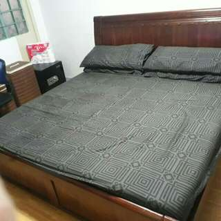 RUSH SALE!Solid Wood King Size Bed Set ForOnly10K