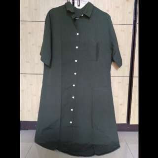 Shirtdress Hijau Army