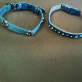 2x Blue Cat Collars