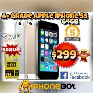 A+ Grade iPhone 5s 64 GB network unlocked phone with 3months warranty